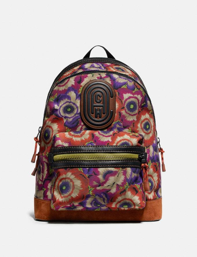 Coach Academy Backpack With Kaffe Fassett Print and Coach Patch Orange/Purple/Black Copper New Men's New Arrivals Bags