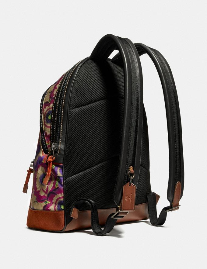 Coach Academy Backpack With Kaffe Fassett Print and Coach Patch Orange/Purple/Black Copper New Men's New Arrivals Bags Alternate View 1
