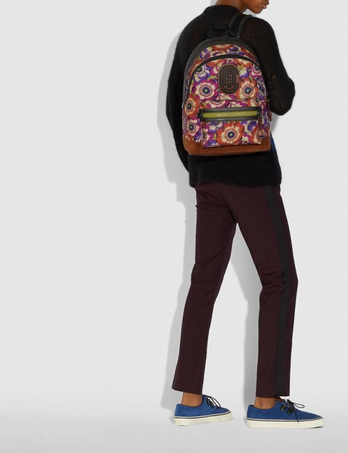 Coach Academy Backpack With Kaffe Fassett Print and Coach Patch Orange/Purple/Black Copper New Men's New Arrivals Bags Alternate View 3