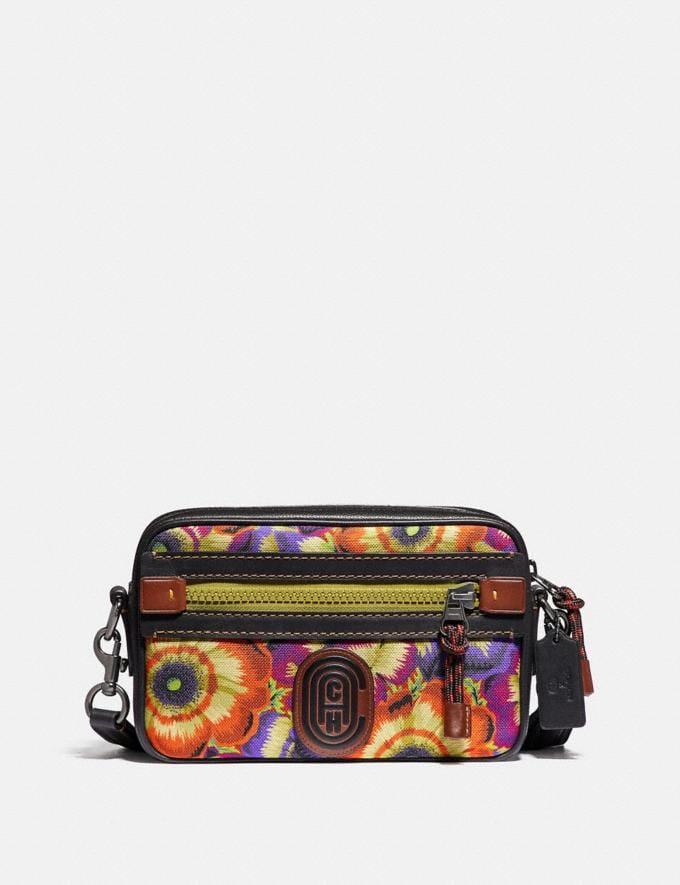 Coach Academy Crossbody With Kaffe Fassett Print and Coach Patch Orange/Purple/Black Copper New Men's New Arrivals Collection