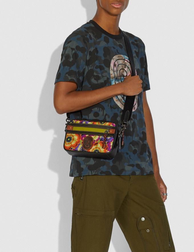 Coach Academy Crossbody With Kaffe Fassett Print and Coach Patch Orange/Purple/Black Copper New Men's New Arrivals Collection Alternate View 3