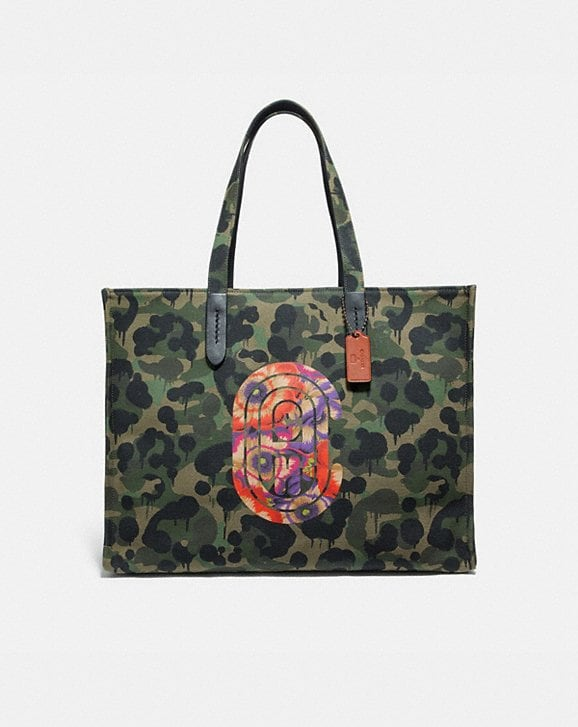 Coach TOTE 42 WITH WILD BEAST PRINT AND KAFFE FASSETT COACH PATCH