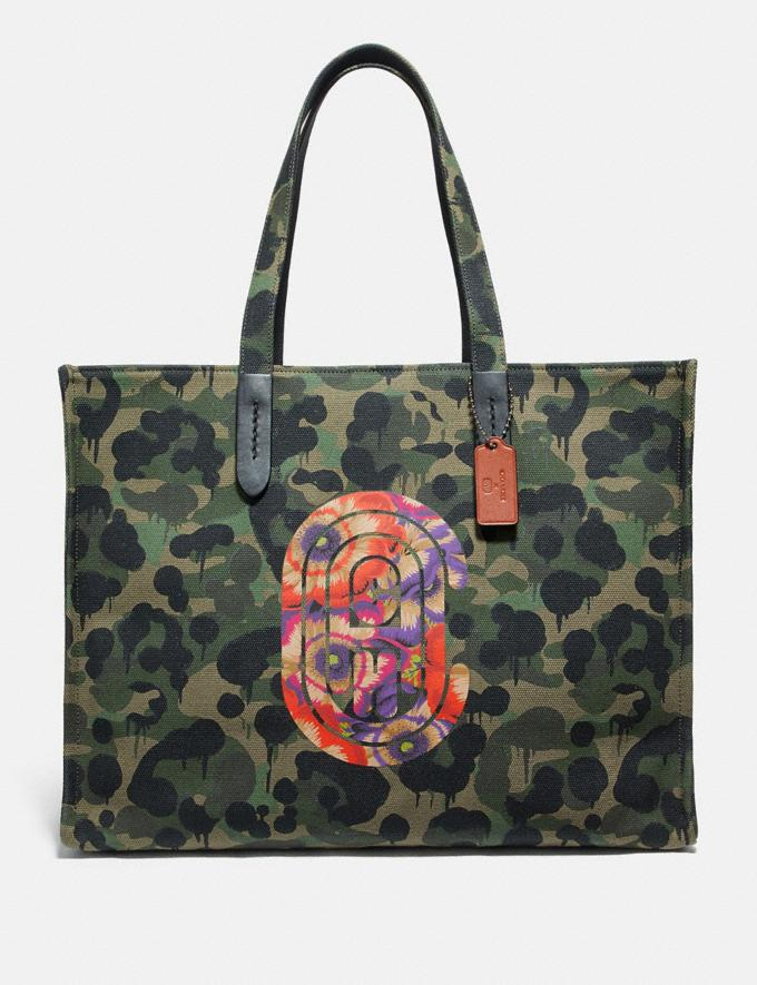 Coach Tote 42 With Wild Beast Print and Kaffe Fassett Coach Patch Military Wild Beast/Black Copper New Men's New Arrivals Collection