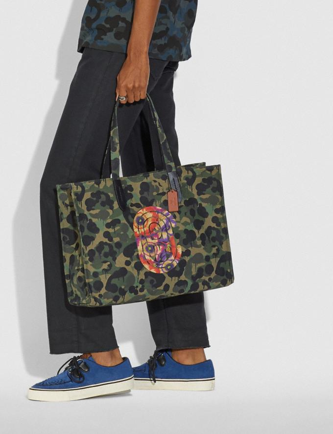 Coach Tote 42 With Wild Beast Print and Kaffe Fassett Coach Patch Military Wild Beast/Black Copper New Men's New Arrivals Collection Alternate View 3