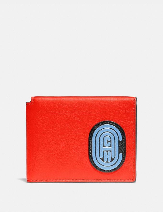 Coach Trifold Card Wallet in Colorblock With Coach Patch Red Orange Multi New Men's New Arrivals Wallets
