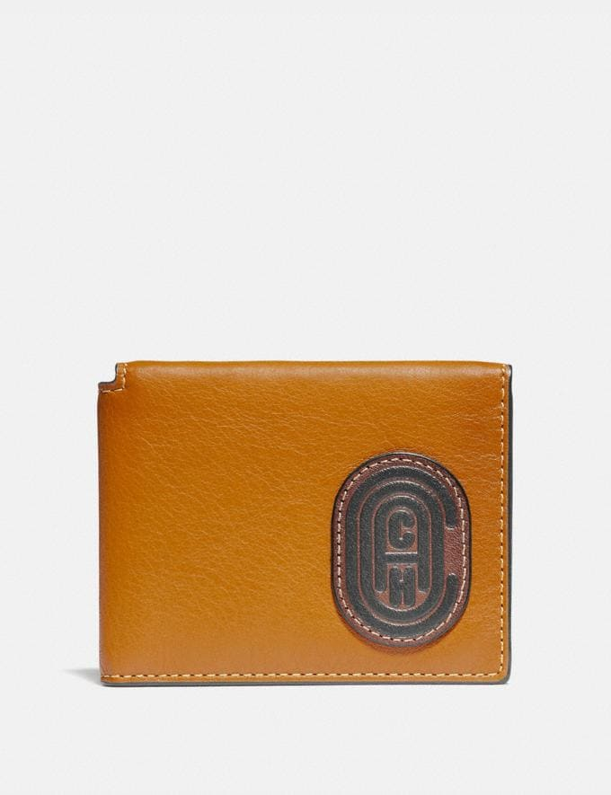 Coach Trifold Card Wallet in Colorblock With Coach Patch Dark Honey Multi Men Wallets Card Cases