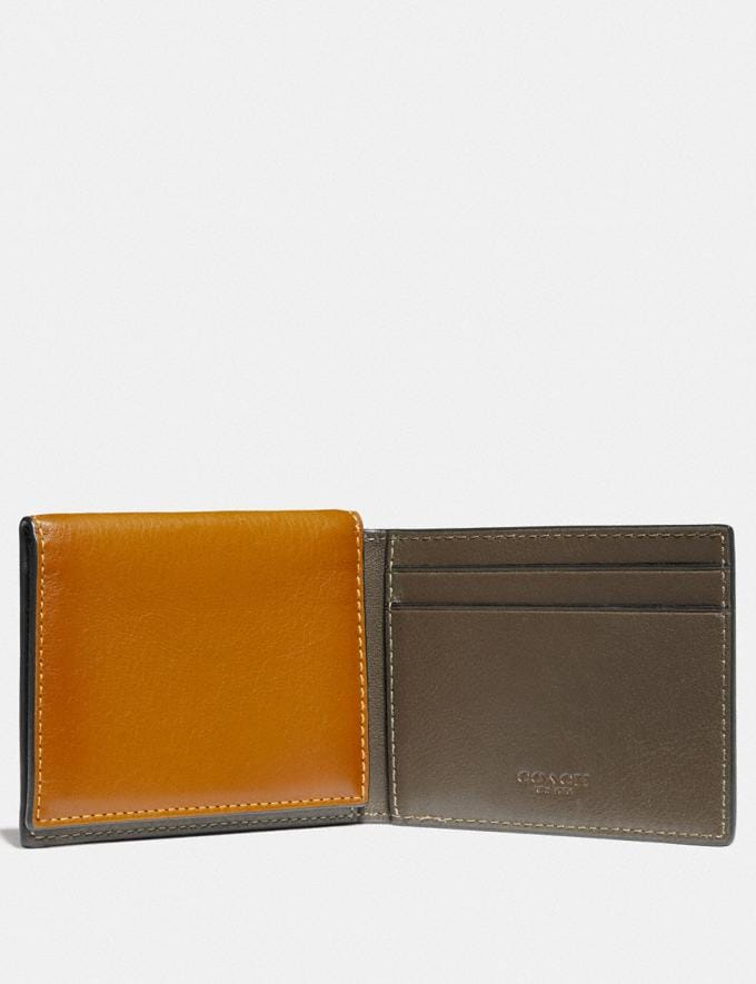 Coach Trifold Card Wallet in Colorblock With Coach Patch Dark Honey Multi Men Wallets Card Cases Alternate View 1