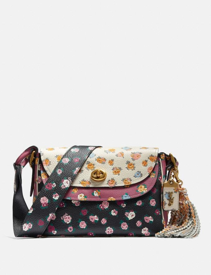 Coach Coach X Tabitha Simmons Crossbody in Colorblock With Meadow Rose Print B4/Black Multi Women Bags Crossbody Bags