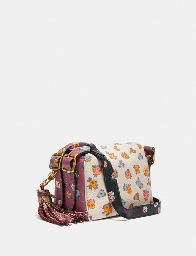 Coach Coach X Tabitha Simmons Crossbody 17 in Colorblock With Meadow Rose Print Black Multi/Brass Women Handbags Crossbody Bags Alternate View 1