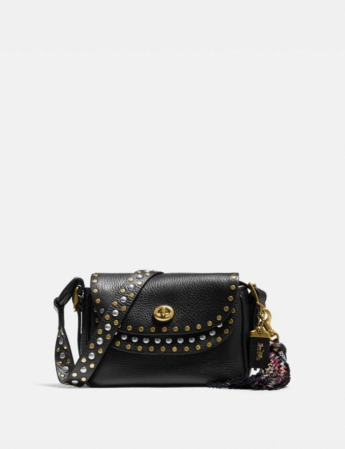 Coach Coach X Tabitha Simmons Crossbody 17 With Rivets Black/Brass New Featured Coach x Tabitha Simmons