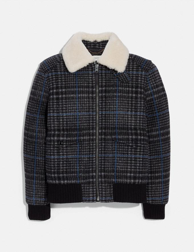 Coach Shearling Bomber Jacket Dark Grey Plaid