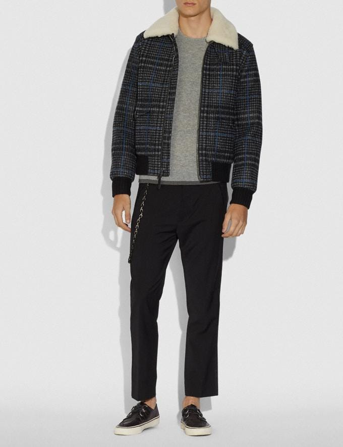 Coach Shearling Bomber Jacket Dark Grey Plaid Men Ready-to-Wear Jackets & Outerwear Alternate View 1