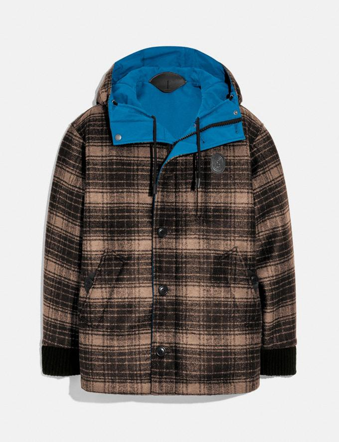 Coach Reversible Plaid Jacket Bright Blue New Men's New Arrivals Ready-to-Wear