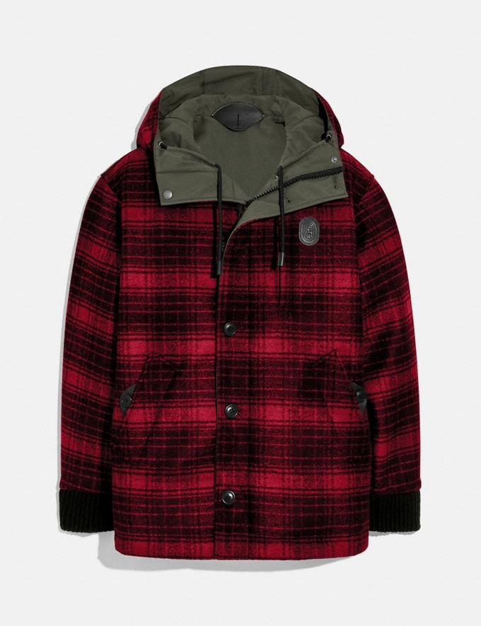 Coach Reversible Plaid Jacket Military Green