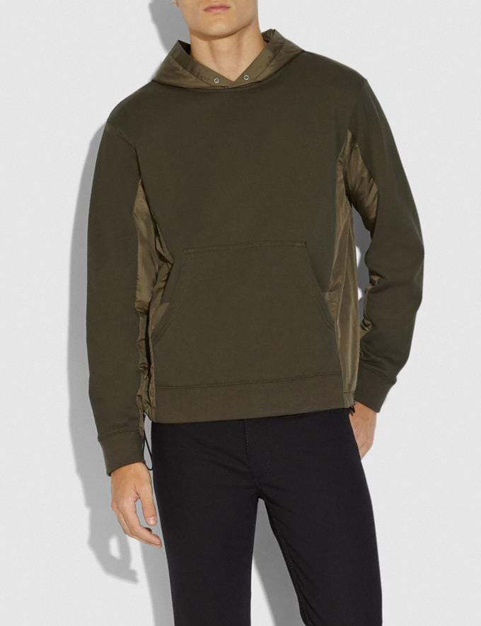 Coach Nylon Hoodie Olive SALE Men's Sale Ready-to-Wear Alternate View 1