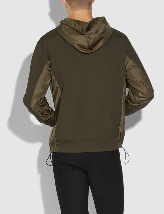Coach Nylon Hoodie Olive SALE Men's Sale Ready-to-Wear Alternate View 2