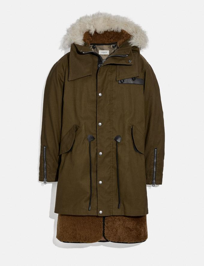 Coach Shearling Convertible Parka Olive Men Ready-to-Wear Coats & Jackets