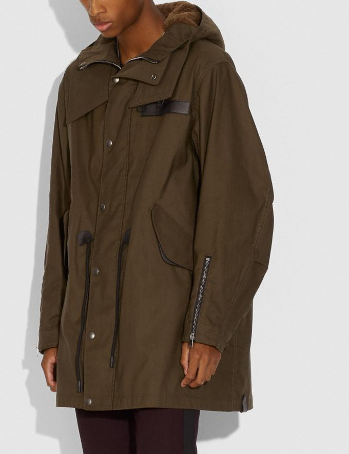 Coach Shearling Convertible Parka Olive  Alternate View 3