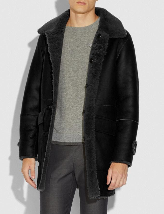 Coach Reversible Shearling Coat Black  Alternate View 3