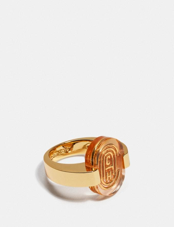 Coach Retro Signature Ring Gold/Pink Gifts For Her Under $100