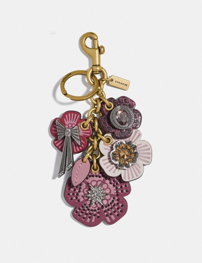 Coach Tea Rose Star Cluster Bag Charm True Pink/Brass
