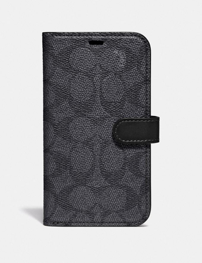 Coach iPhone X/Xs Folio in Signature Canvas Charcoal Women Accessories Tech & Work