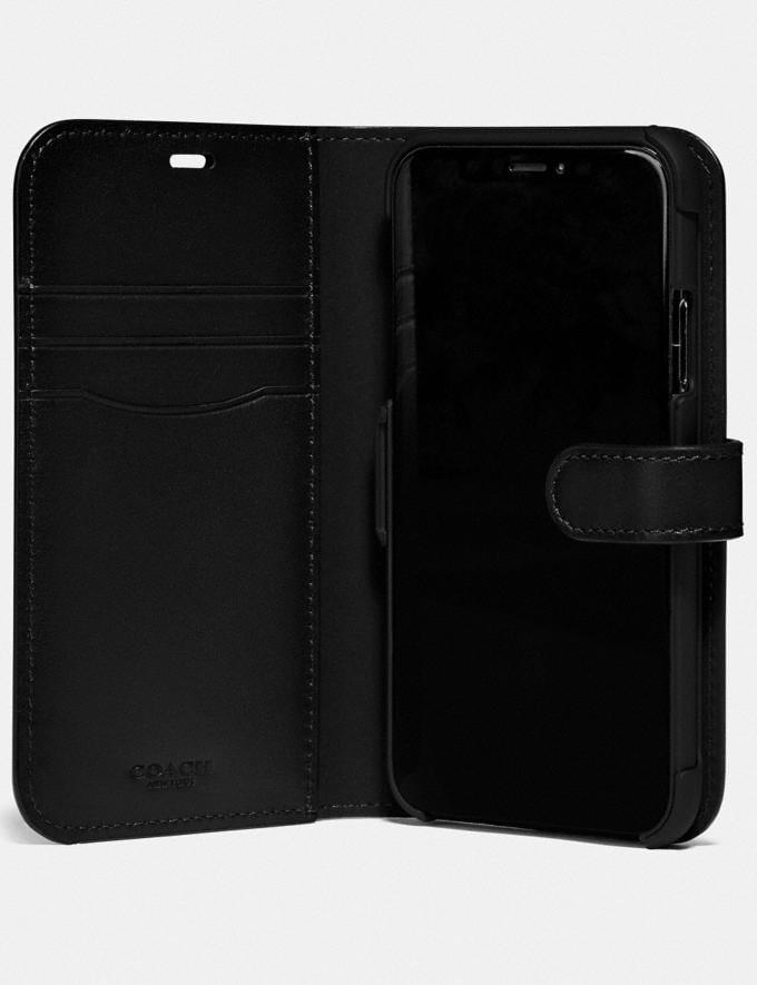 Coach iPhone X/Xs Folio in Signature Canvas Charcoal Women Accessories Tech & Work Alternate View 1