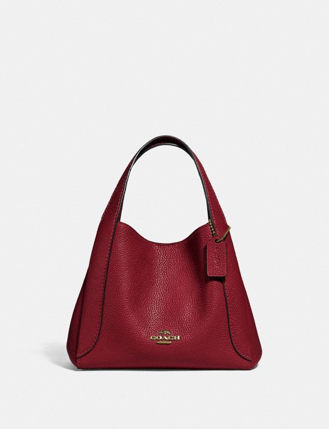Coach Hadley Hobo 21 Gold/Deep Red New Featured Online-Only