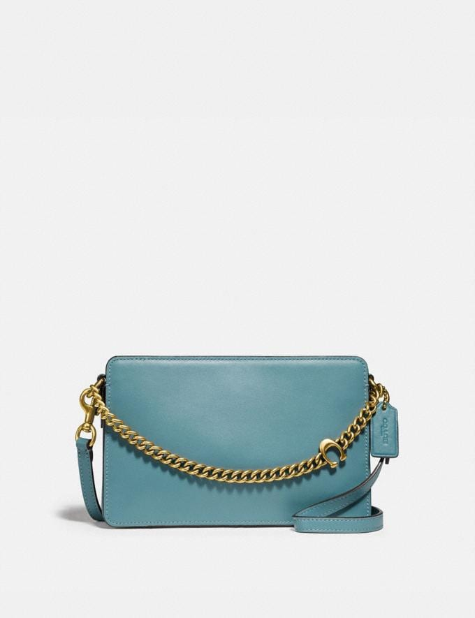 Coach Signature Chain Crossbody Brass/Marine New Women's New Arrivals Small Leather Goods