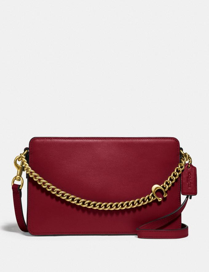 Coach Signature Chain Crossbody Brass/Deep Red Gifts For Her