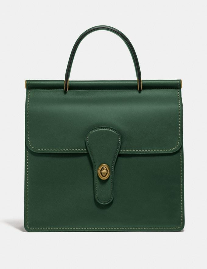 Coach Willis Top Handle Brass/Hunter Green New Featured Online Exclusives