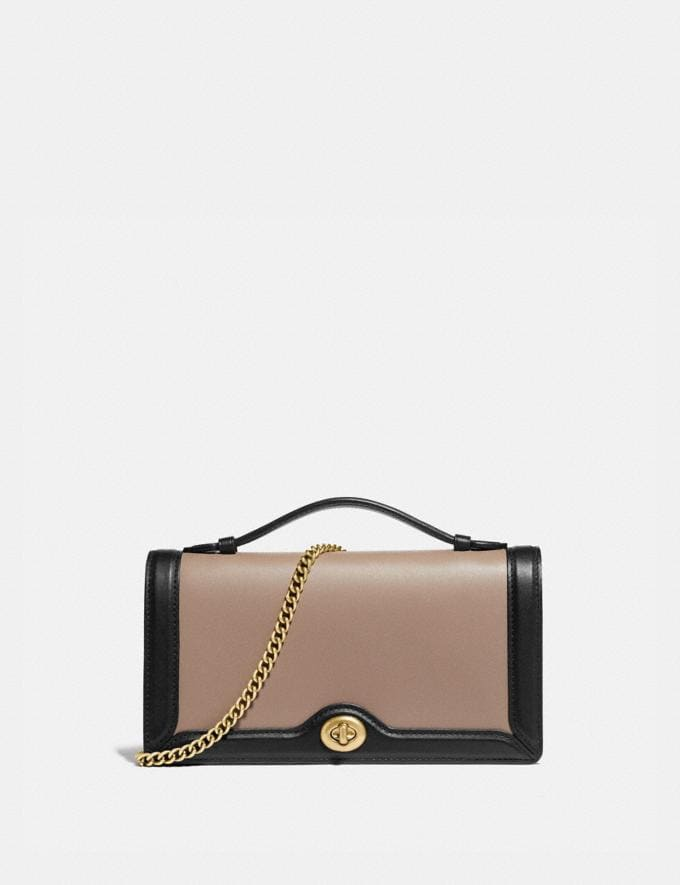 Coach Riley Chain Clutch in Colorblock Stone Multi/Brass Women Handbags Satchels & Top Handles