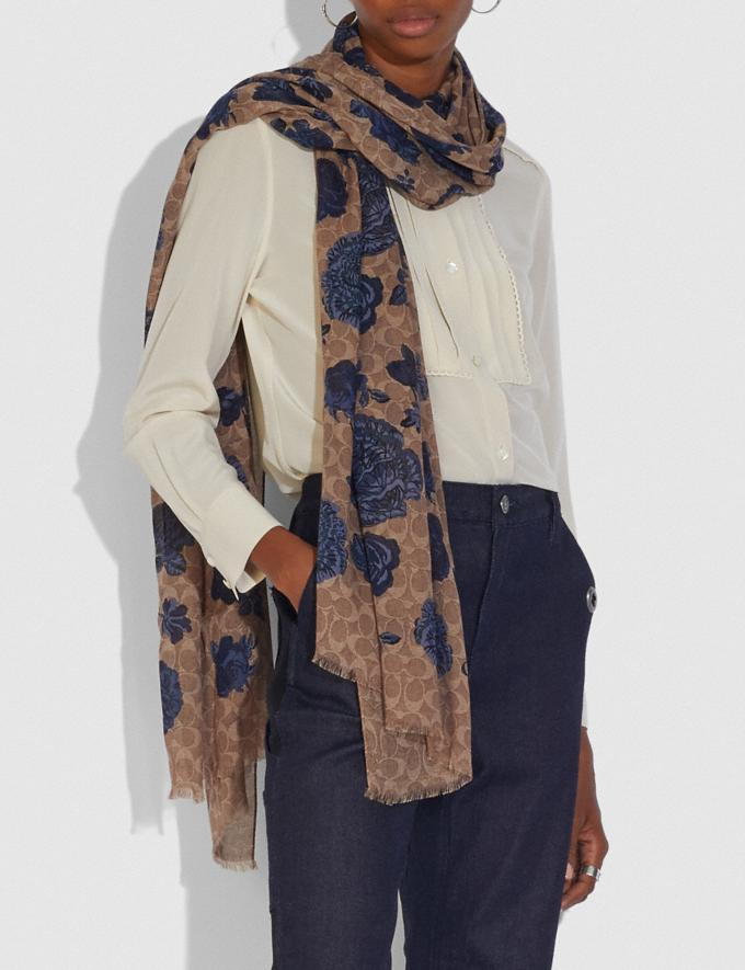 Coach Oblong Scarf With Kaffe Fassett Print Tan/Navy Women Accessories Alternate View 1