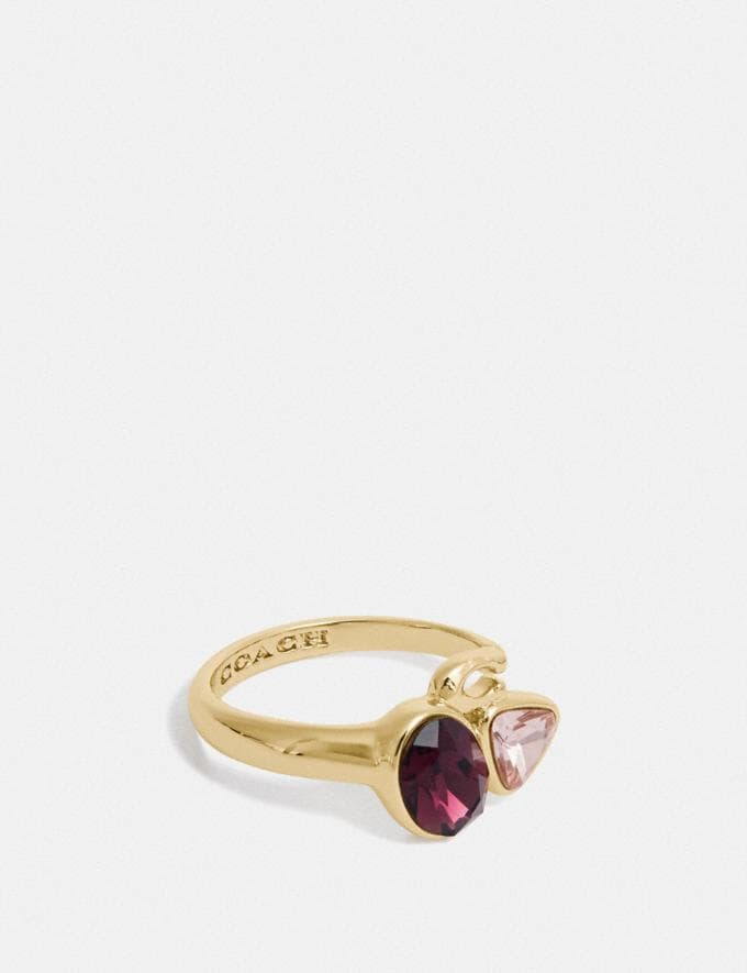 Coach Signature Crystal Cluster Ring Gold/Red Gift For Her Under €100