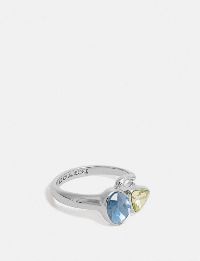 Coach Signature Crystal Cluster Ring Silver/Blue Women Accessories Jewellery Rings