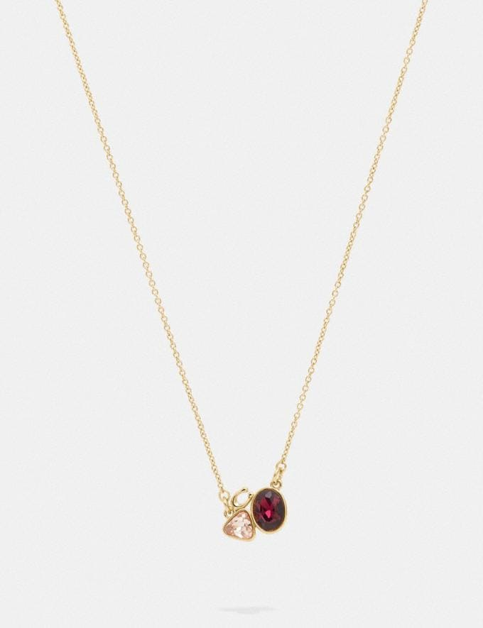 Coach Signature Crystal Cluster Slider Necklace Gold/Red SALE Women's Sale Jewellery and Watches