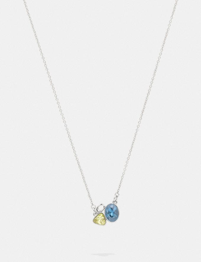 Coach Signature Crystal Cluster Slider Necklace Silver/Blue Women Accessories Jewellery Necklaces