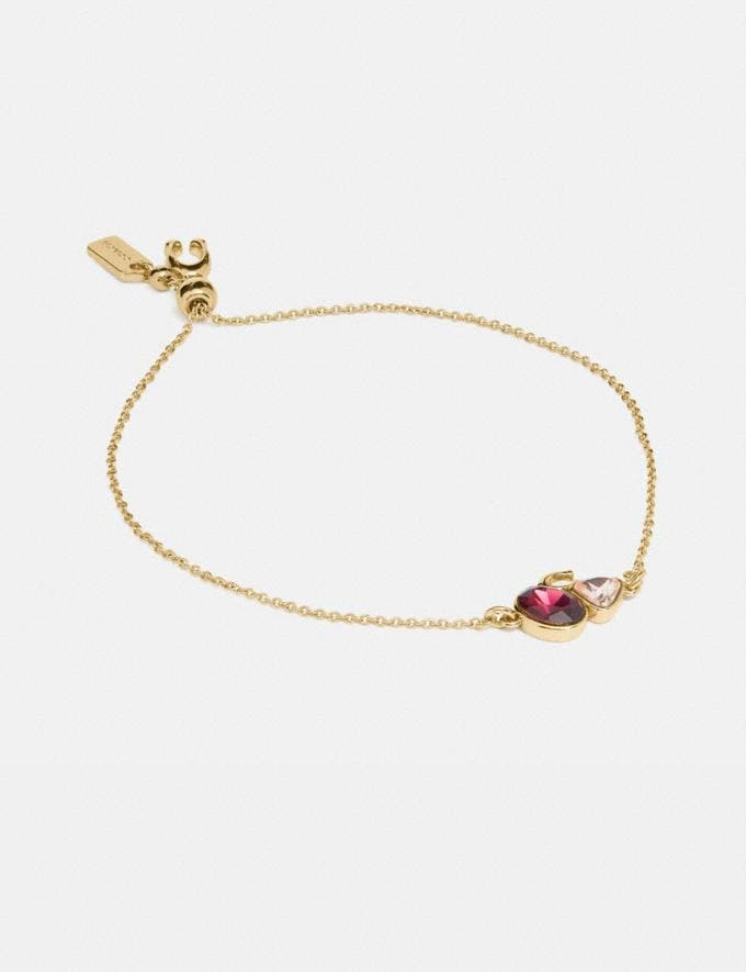 Coach Signature Crystal Cluster Slider Bracelet Gold/Red Cyber Monday Women's Cyber Monday Sale Jewellery