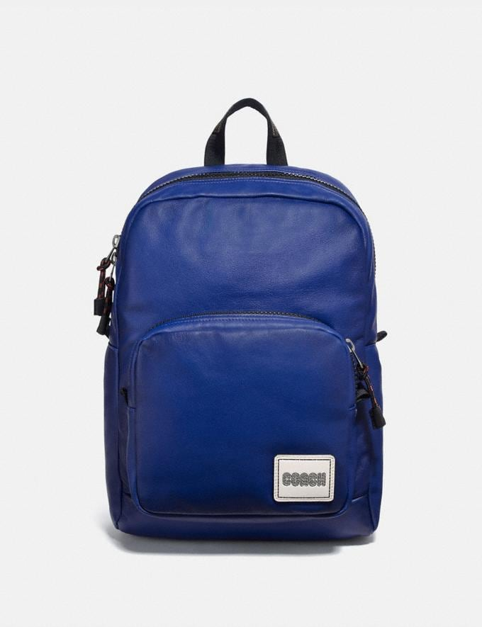 Coach Pacer Tall Backpack With Coach Patch Black Copper/Sport Blue