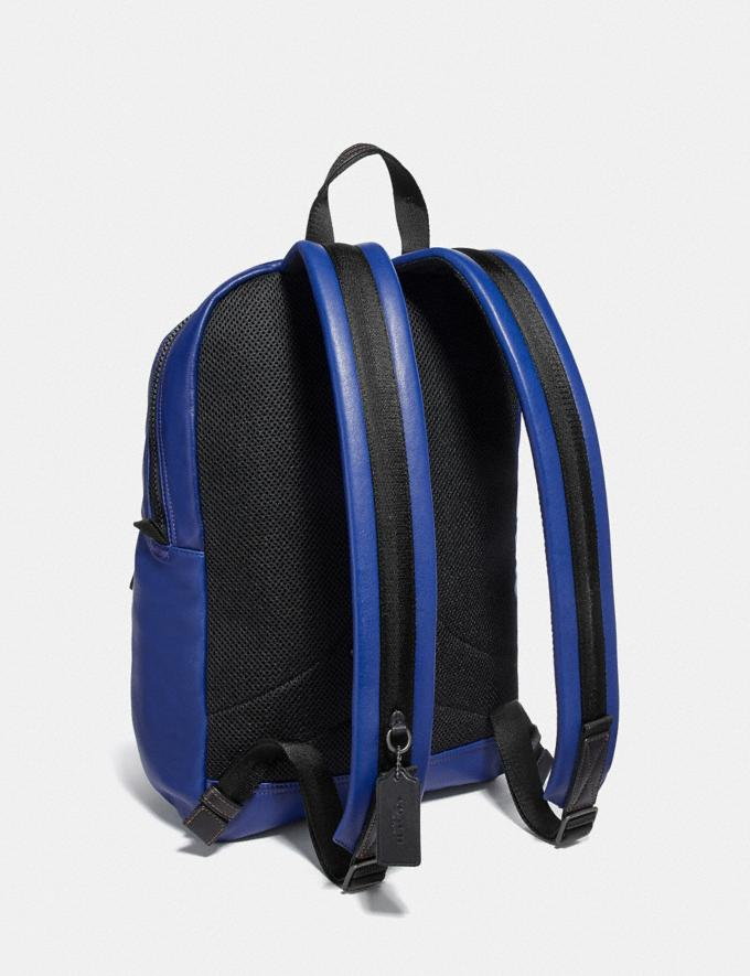Coach Pacer Tall Backpack With Coach Patch Black Copper/Sport Blue  Alternate View 1