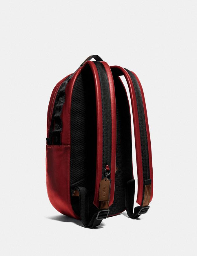 Coach Pacer Backpack With Coach Patch Black Copper/Cardinal VIP SALE Men's Sale Bags Alternate View 1