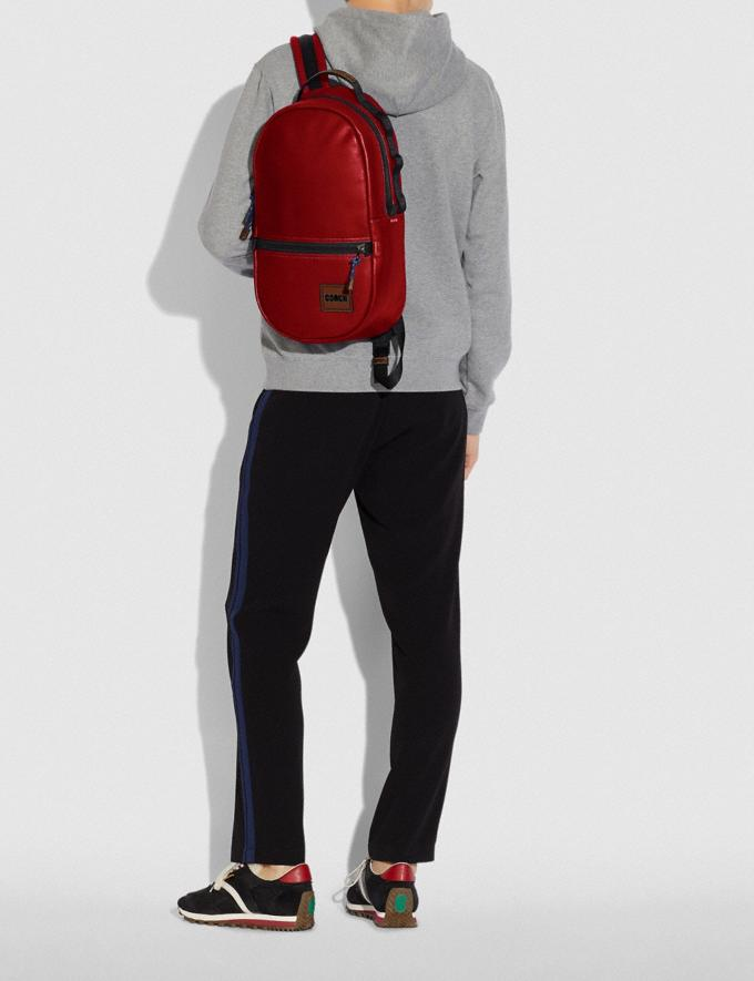 Coach Pacer Backpack With Coach Patch Black Copper/Cardinal New Men's New Arrivals Bags Alternate View 4