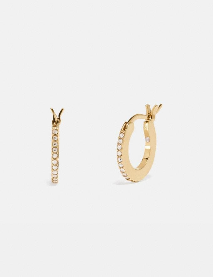 Coach Pave Huggie Earrings Gold/Clear Gifts For Her Bestsellers