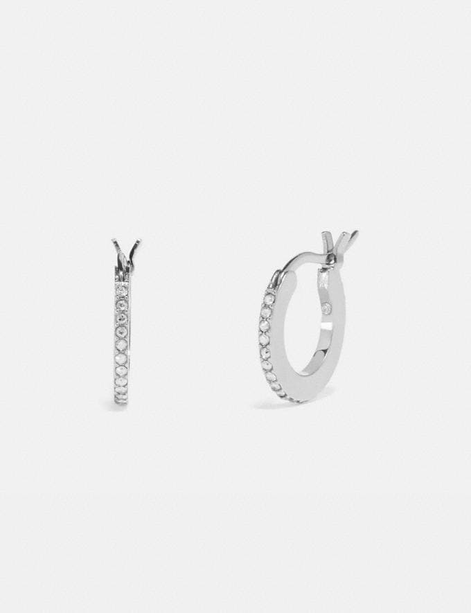Coach Pave Huggie Earrings Silver/Clear Women Accessories Jewelry & Watches