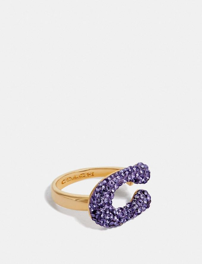 Coach Crystal Signature Ring Gold/Purple