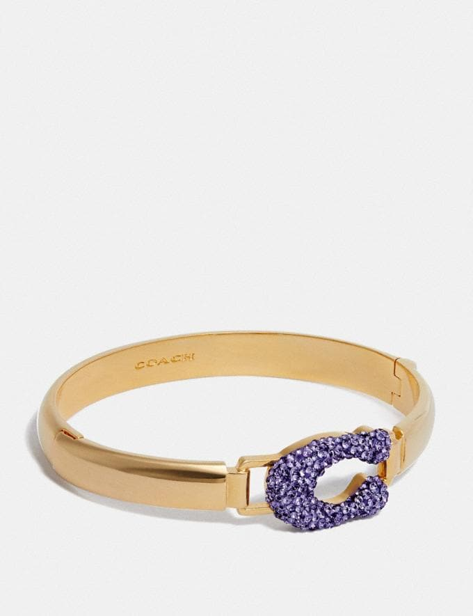Coach Crystal Signature Sculpted Bangle Gold/Purple SALE Nach Rabatt Shoppen 50% Rabatt