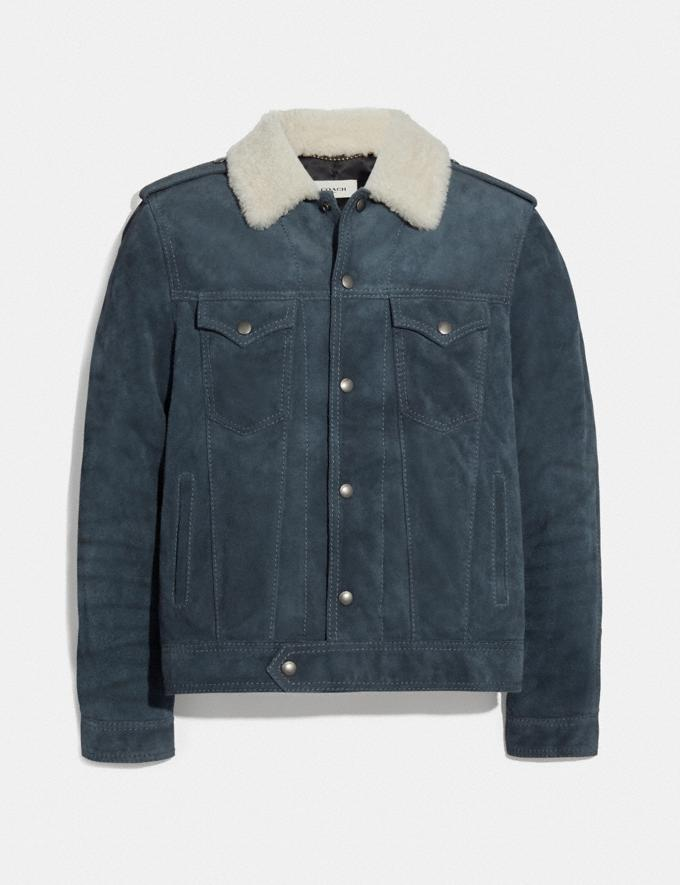 Coach Suede Trucker Jacket Denim Blue