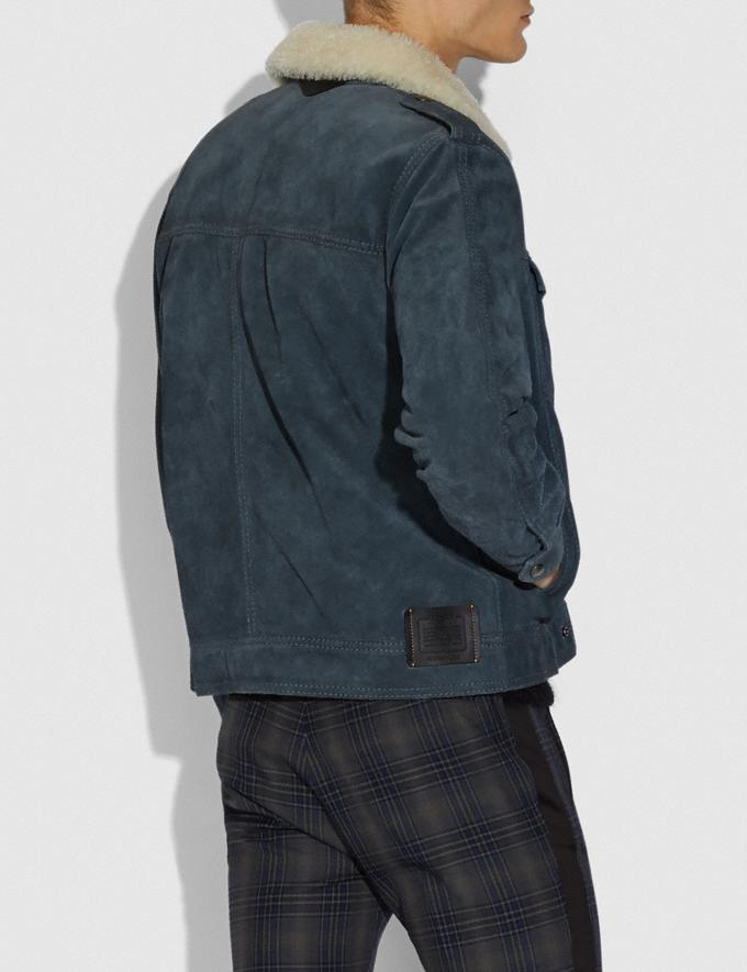Coach Suede Trucker Jacket Denim Blue  Alternate View 2