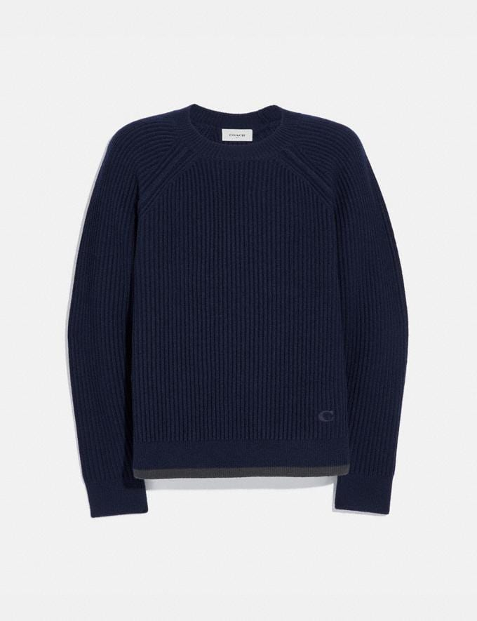 Coach Raglan Crewneck Sweater Navy
