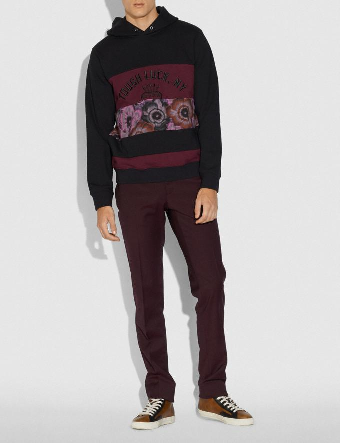 Coach Tough Luck Patchwork Hoodie With Kaffe Fassett Print Burgundy Men Ready-to-Wear Tops & Bottoms Alternate View 1